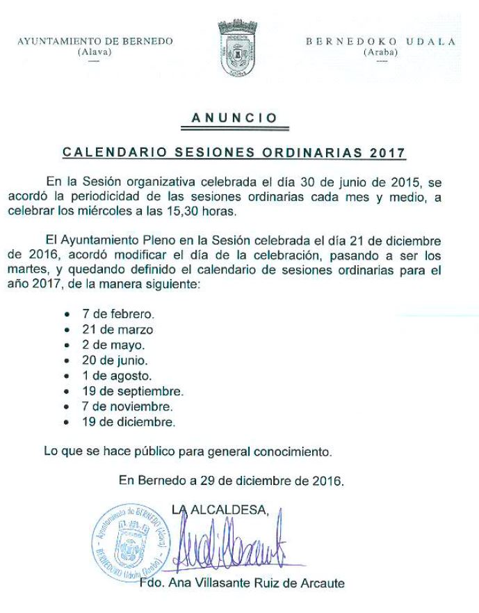 Calendario sesiones ordinarias 2017
